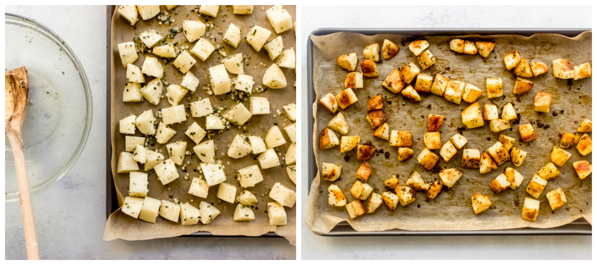 potatoes on a sheet pan
