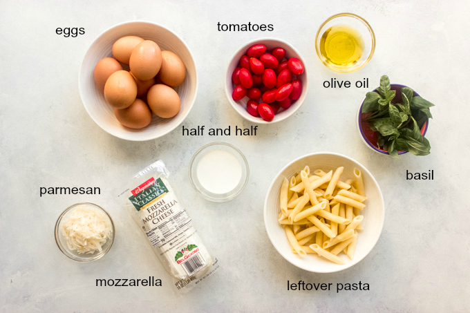 ingredients for pasta frittata bake