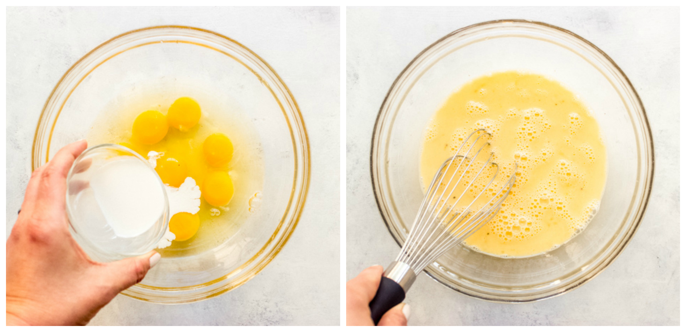 eggs with cream in a glass bowl
