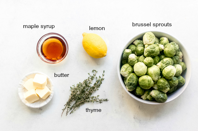 ingredients for maple roasted brussel sprouts
