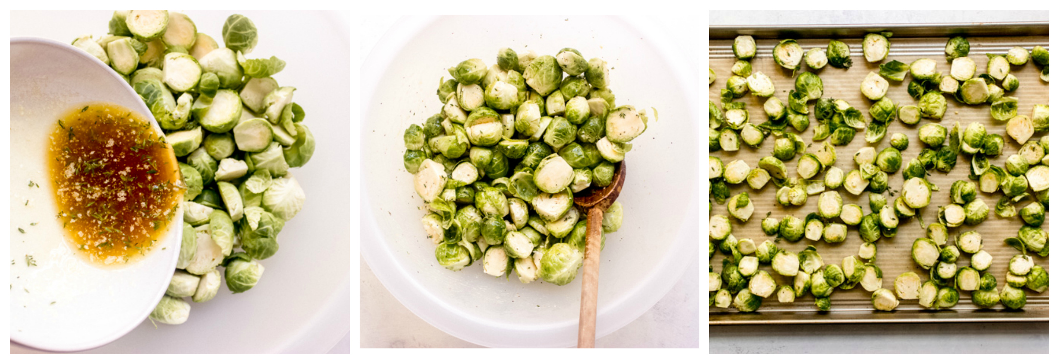 brussel sprouts on a sheet pan