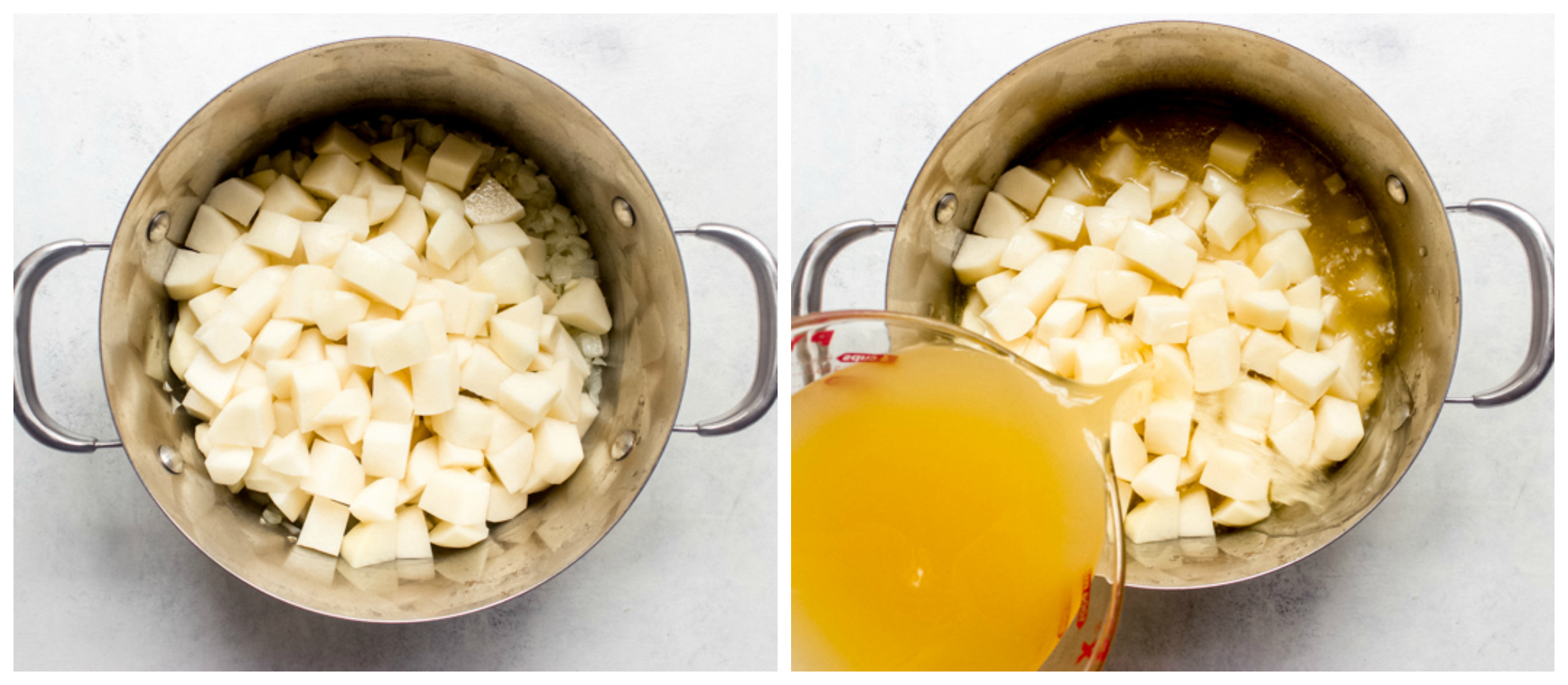 potatoes in dutch oven with broth