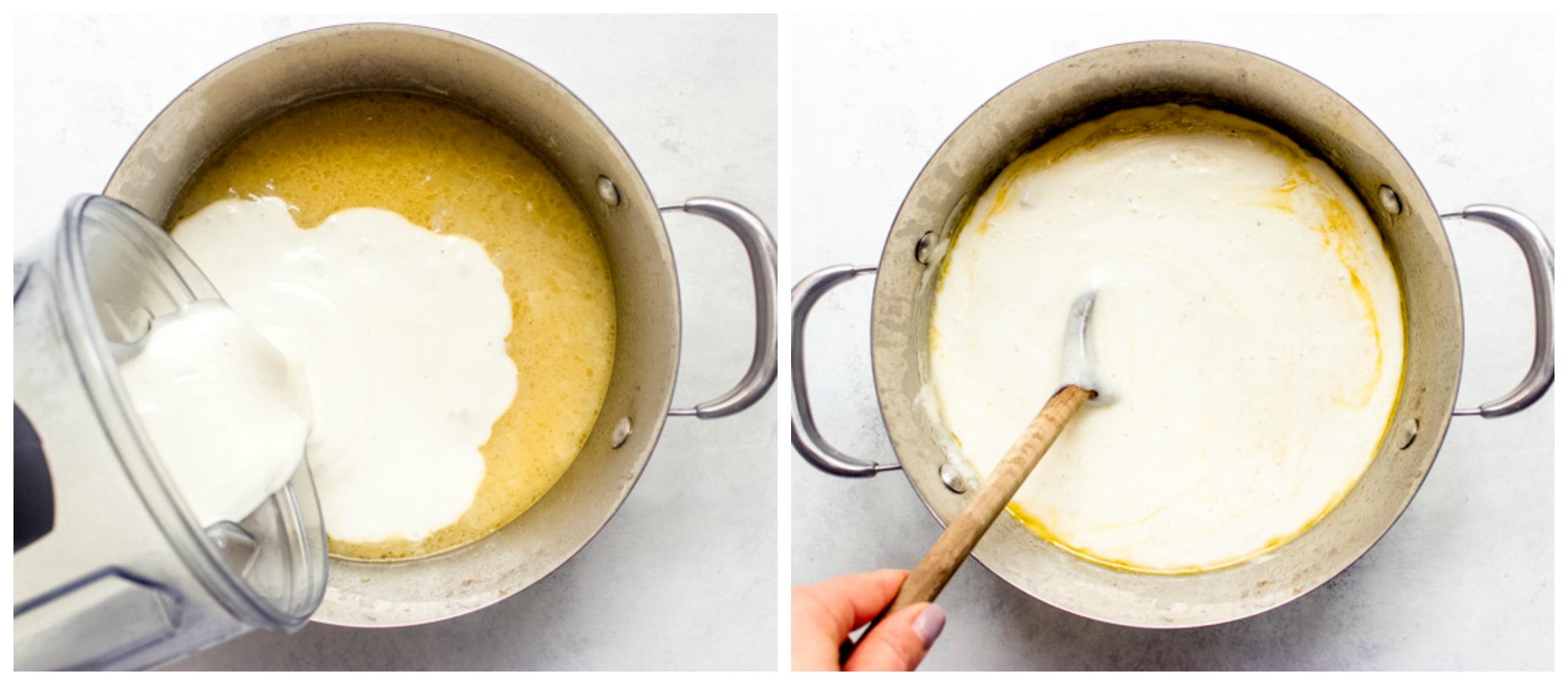 pureed potato soup in dutch oven