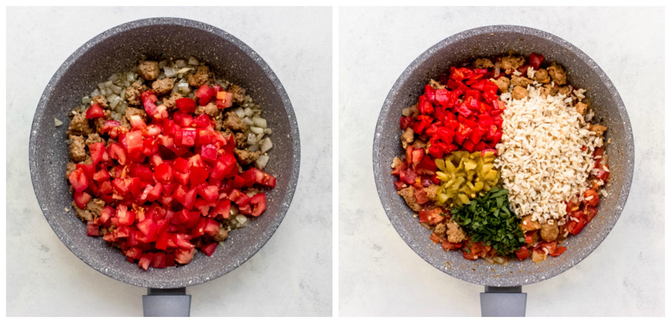 pepper filling in a skillet