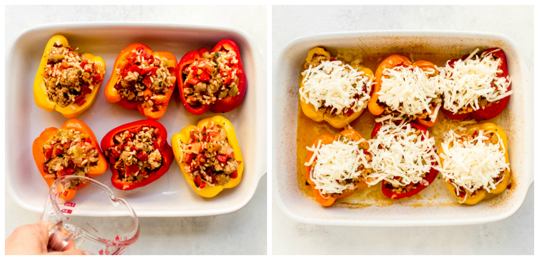 baked stuffed peppers in a dish