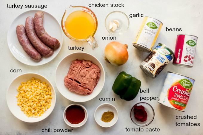 ingredients for three bean turkey chili