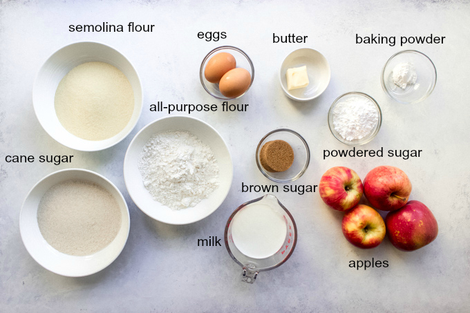 ingredients for easy apple pie cake recipe