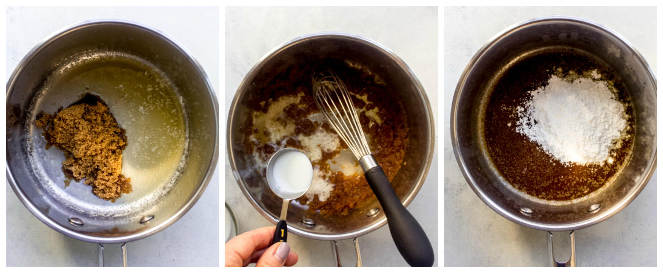 caramel glaze in a saucepan