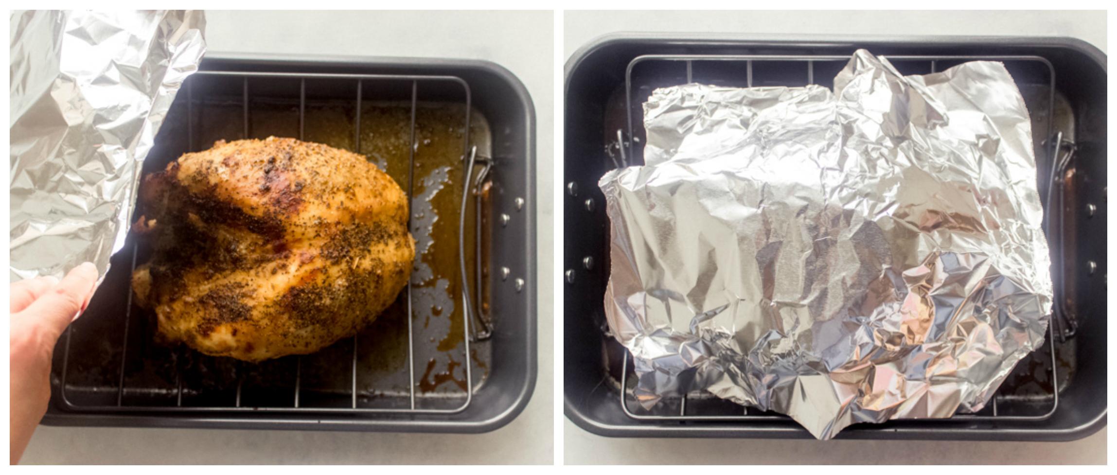roasted turkey breast in roasting pan
