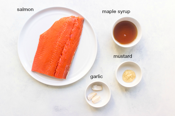 ingredients for maple mustard salmon