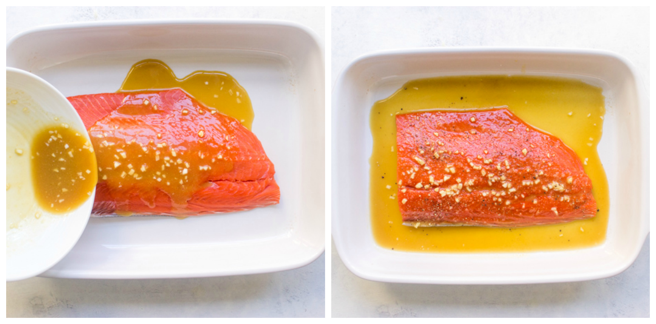 salmon in baking dish