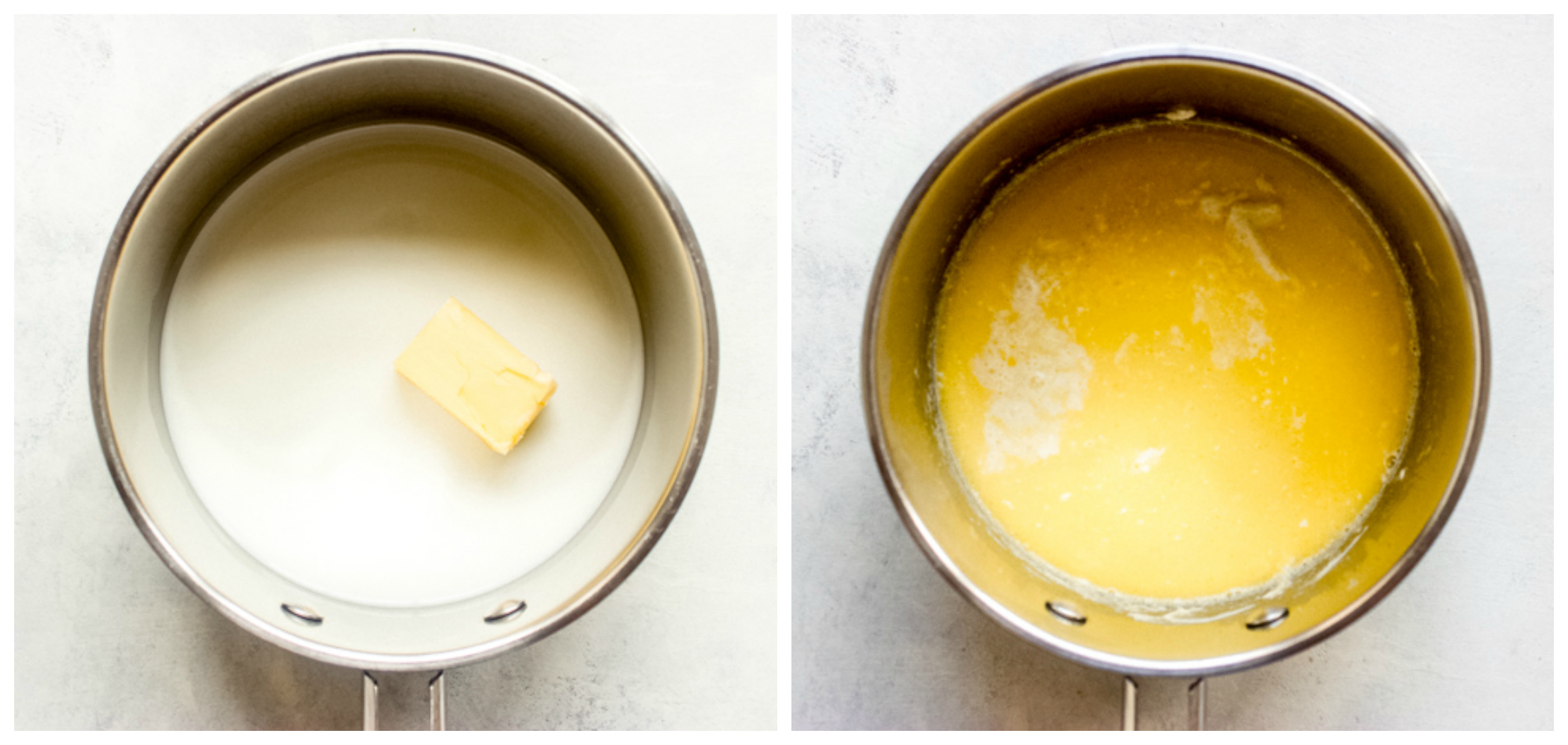 milk and butter in saucepan