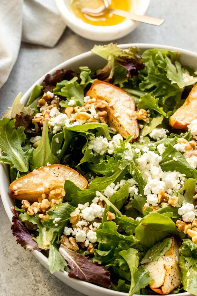 roasted pear and goat cheese salad