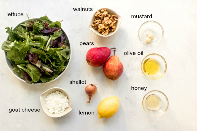 ingredients for roasted pear salad