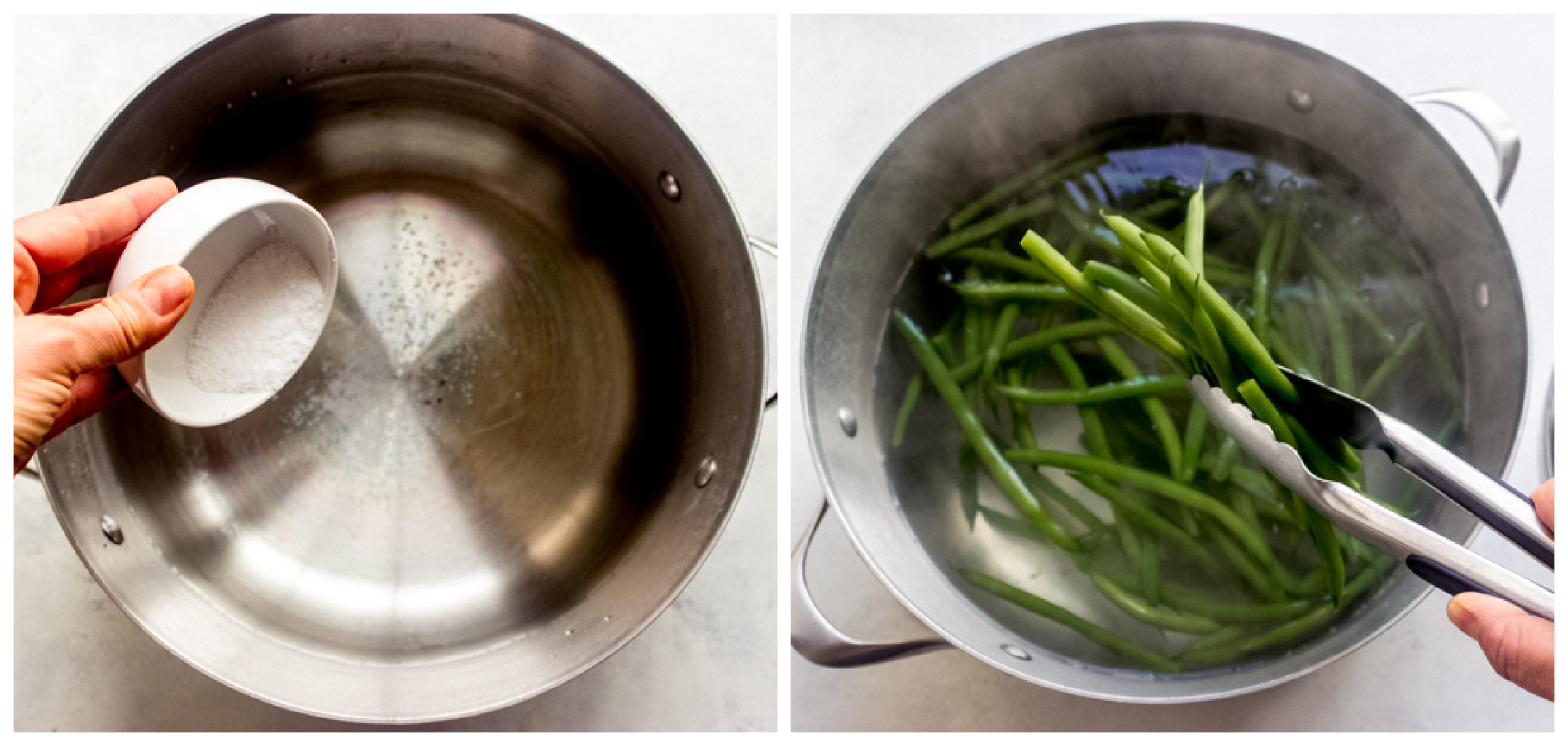 blanched green beans in a pot