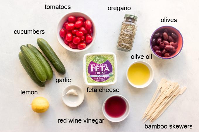 ingredients for salad kabobs