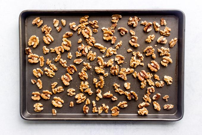 walnuts on a baking sheet