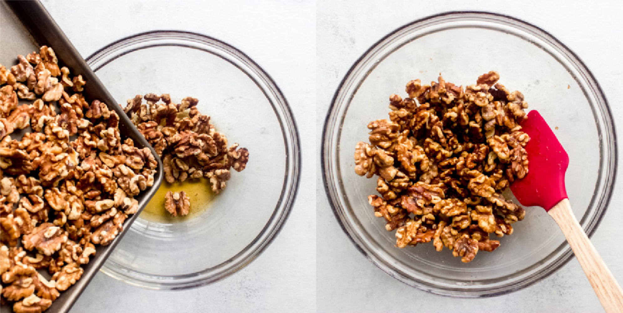 walnuts in a bowl with maple syrup