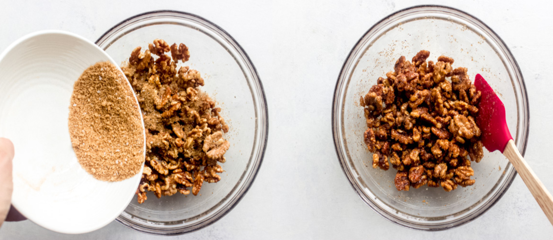 walnuts with spice mixture in a bowl