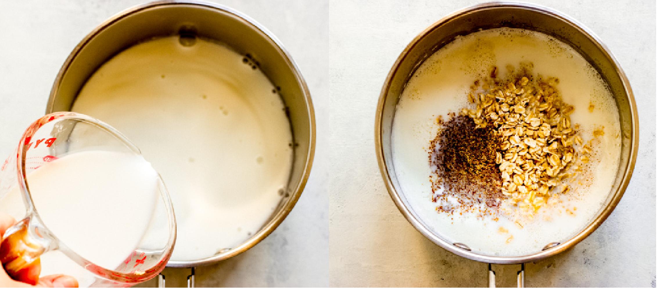 milk with oatmeal in a saucepan