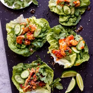 korean chicken lettuce wraps
