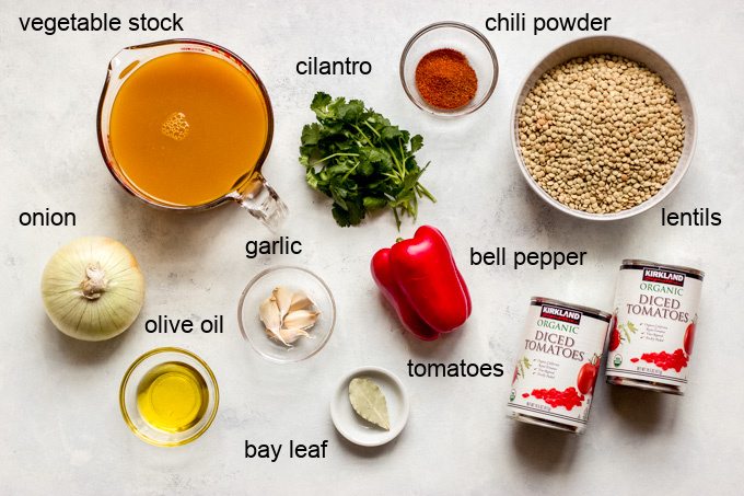ingredients for lentil chili