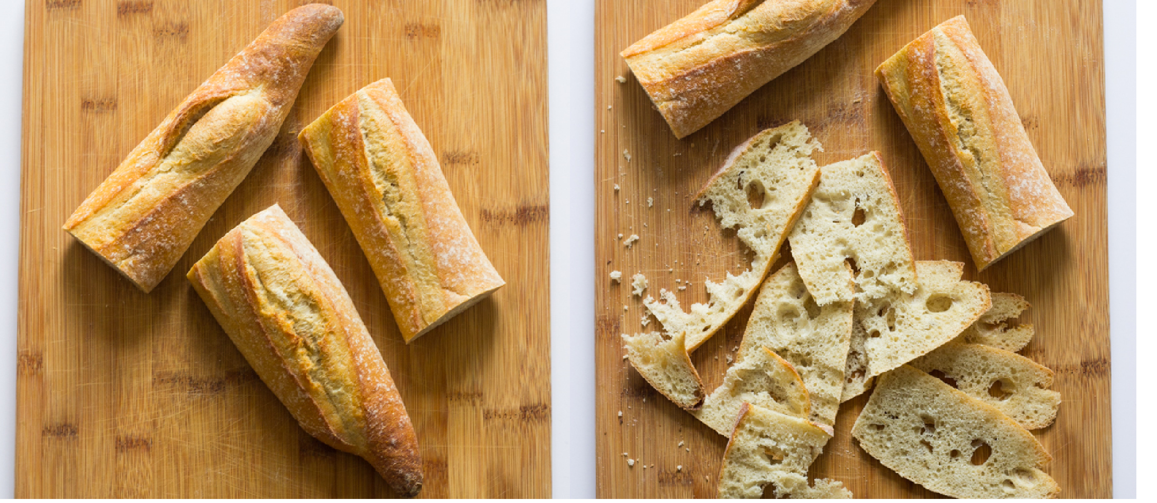 sliced baguette bread
