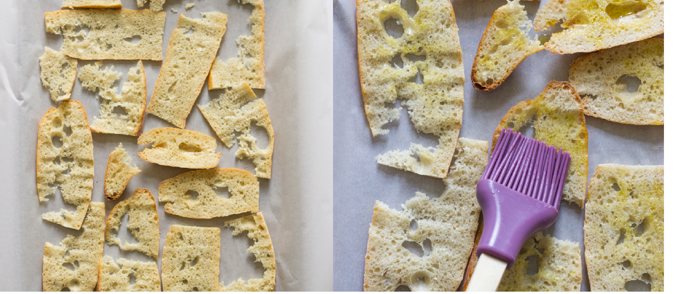 baguette slices on a baking sheet