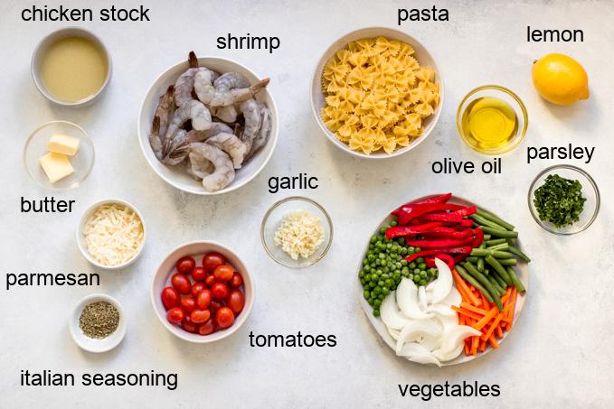 ingredients for shrimp pasta primavera