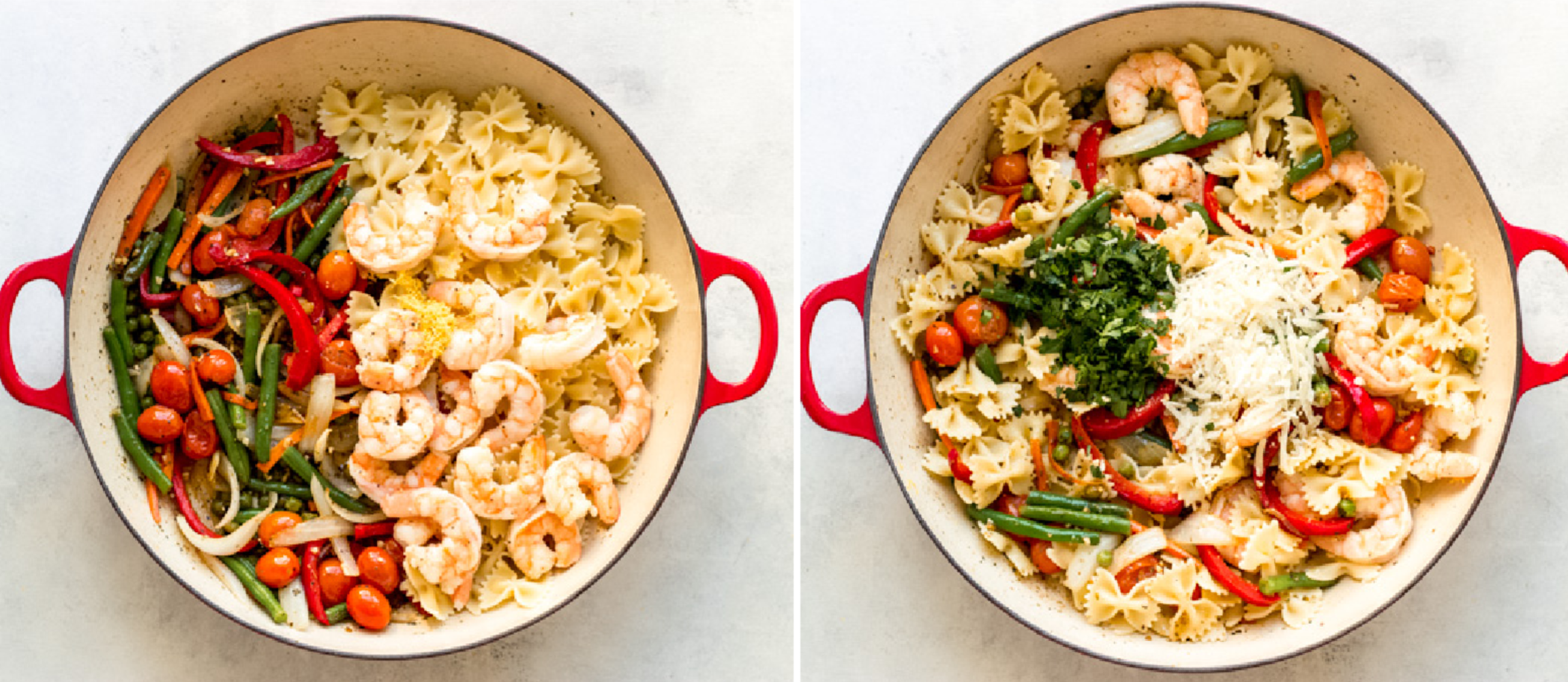 shrimp, pasta, and vegetables in pan
