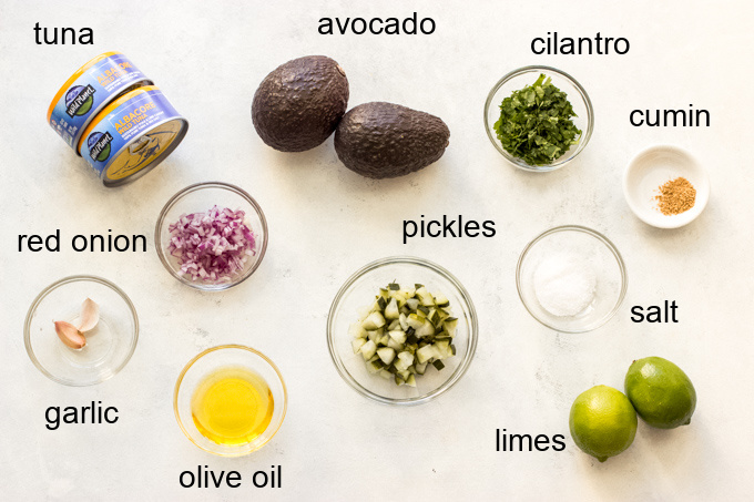 ingredients for avocado tuna salad recipe