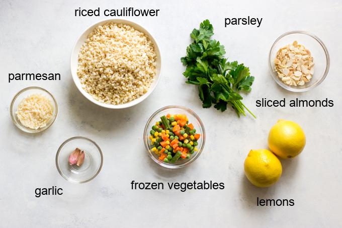 ingredients for cauliflower pilaf