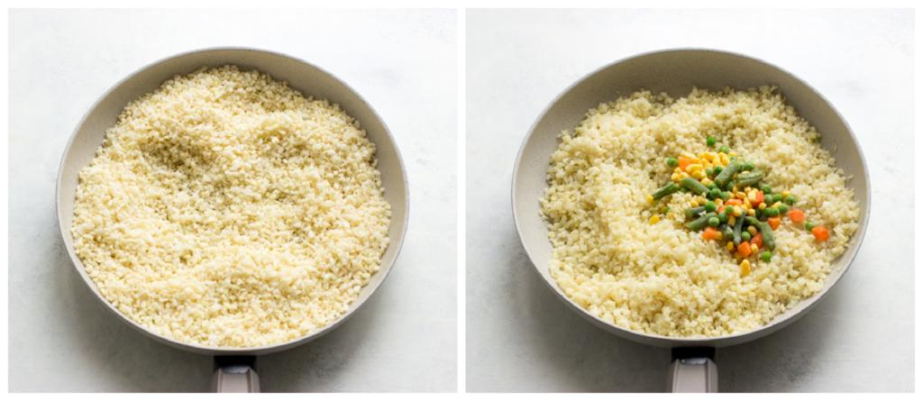 riced cauliflower in a pan