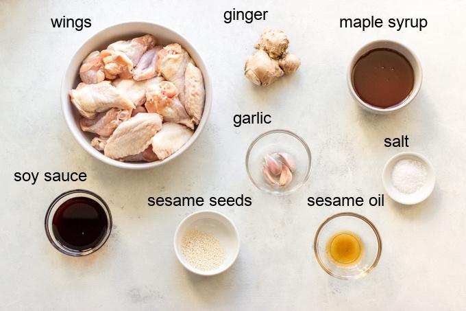 ingredients for sesame wings