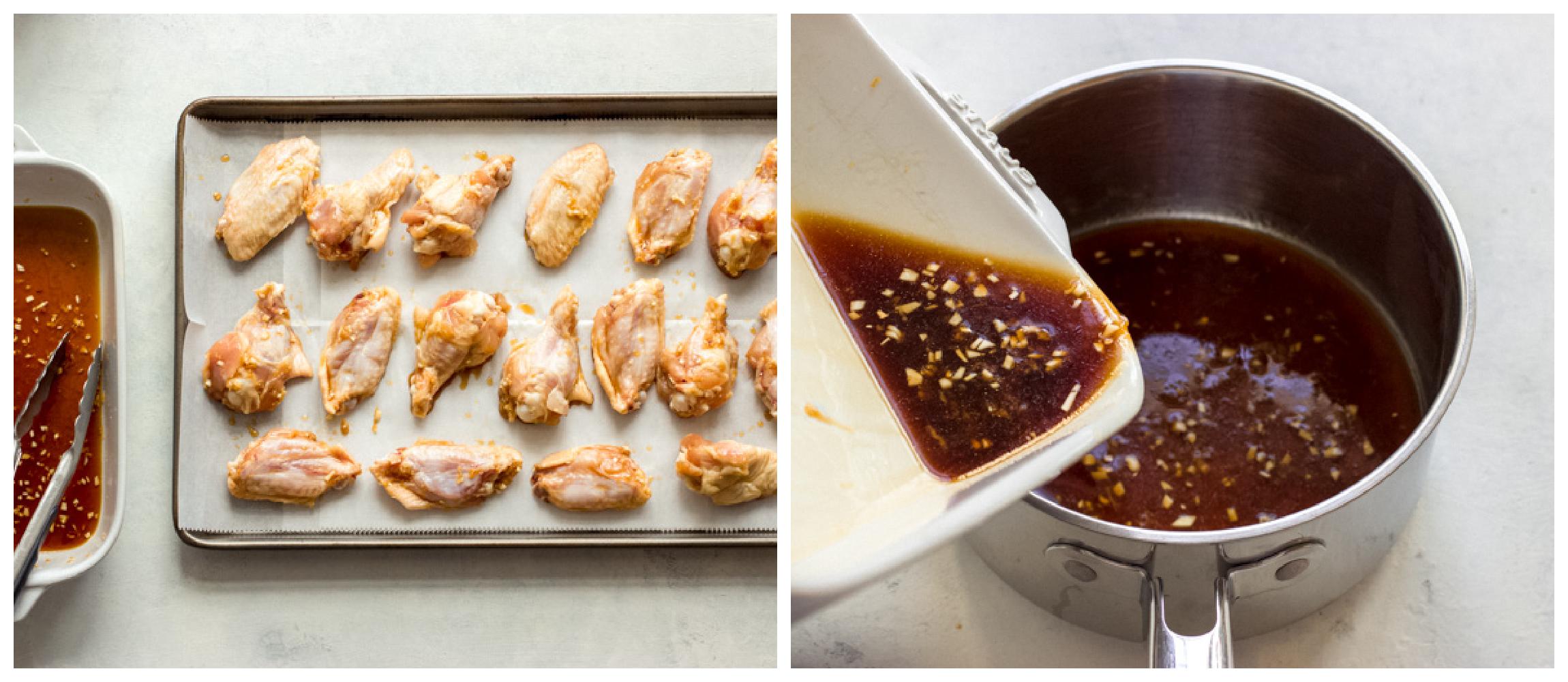 sesame chicken wings on a baking sheet