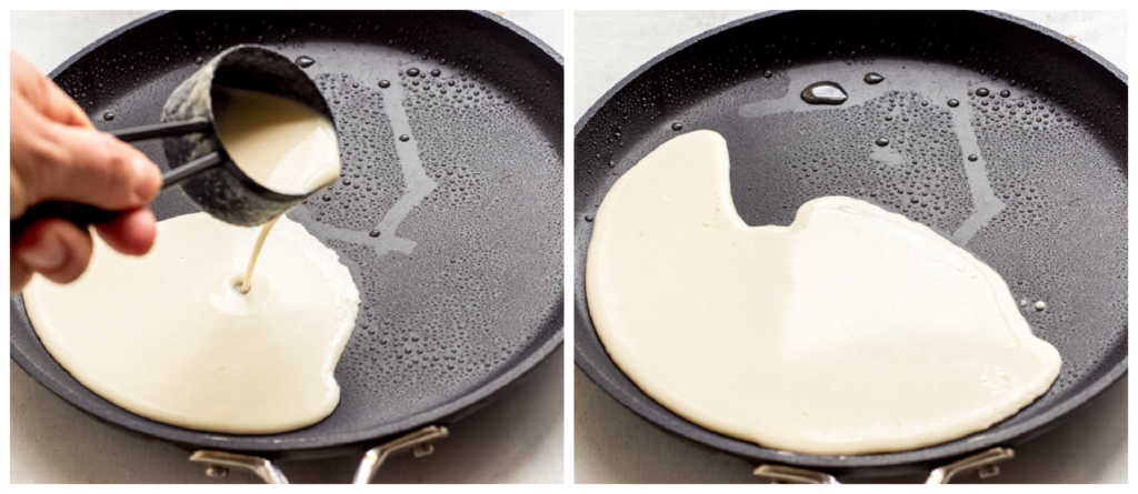 blini batter in a pan