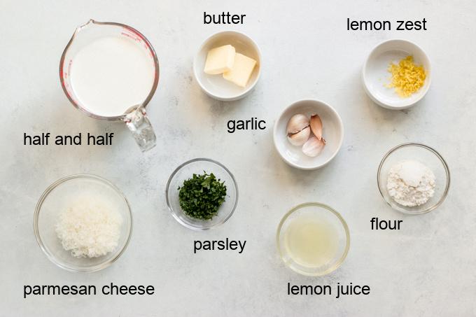 ingredients for lemon garlic cream sauce
