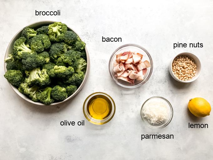 ingredients for roasted broccoli with bacon
