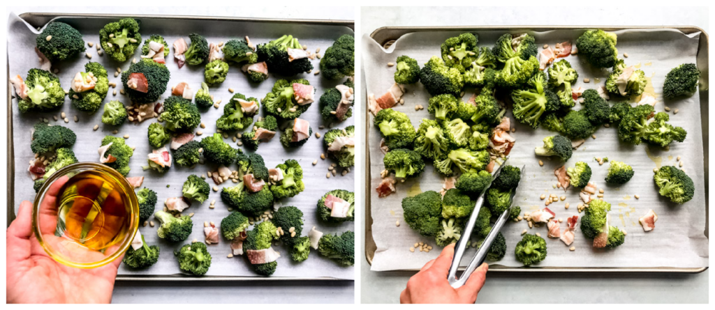 broccoli with bacon, parmesan, and pine nuts on a baking sheet