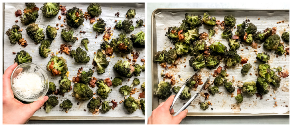 oven roasted broccoli with bacon