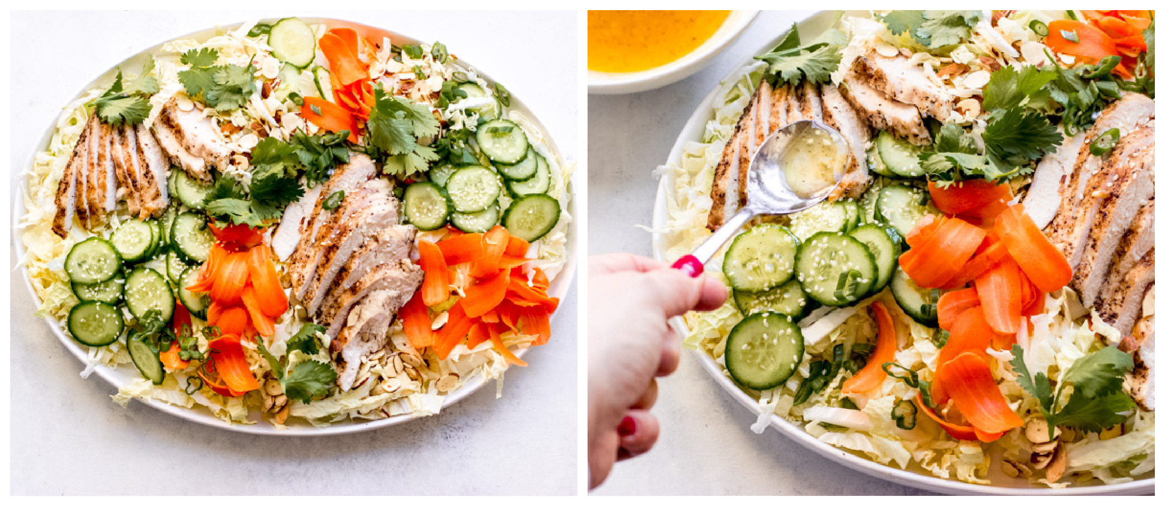 asian sesame chicken salad in a bowl