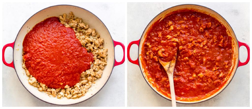 italian sausage with marinara in a pan