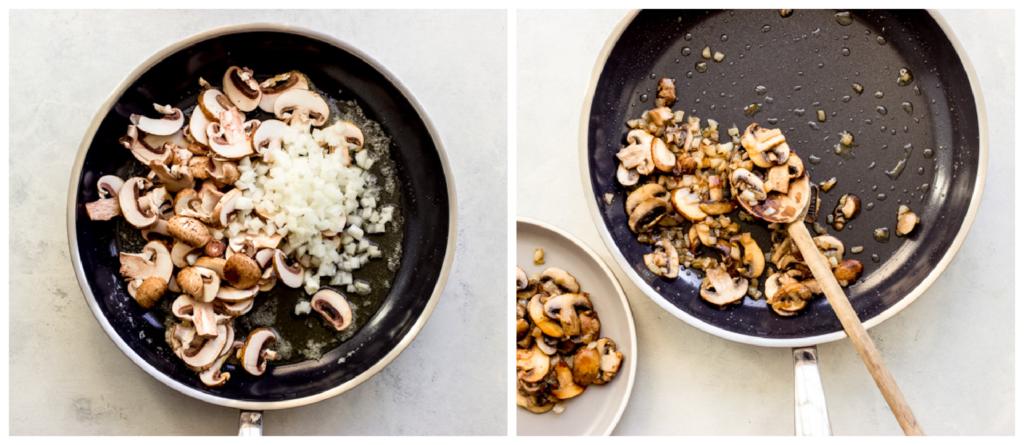 cooked mushrooms in pan