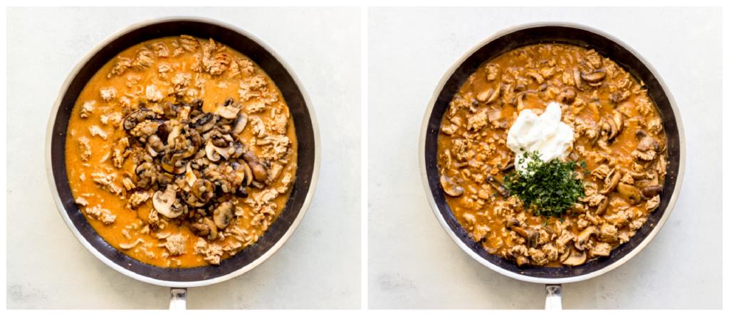 mushroom and ground turkey in pan