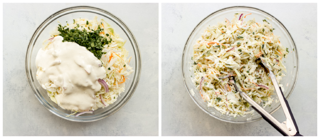 coleslaw with dressing in a white bowl