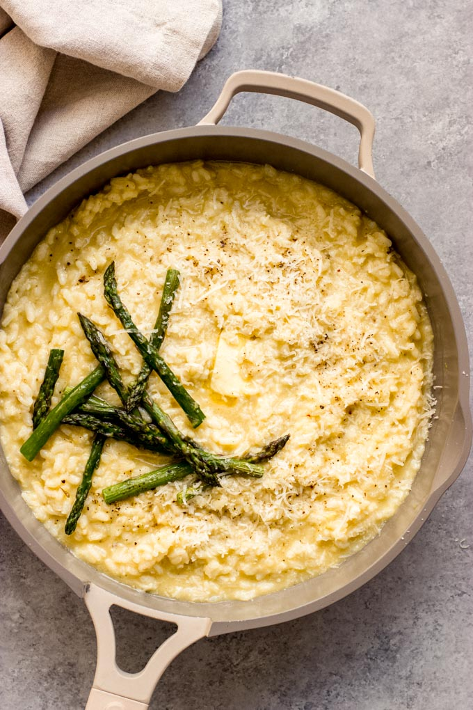 overhead  lemon risotto in a pan