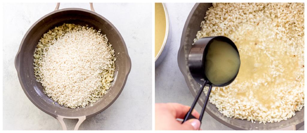 arborio rice in a pan
