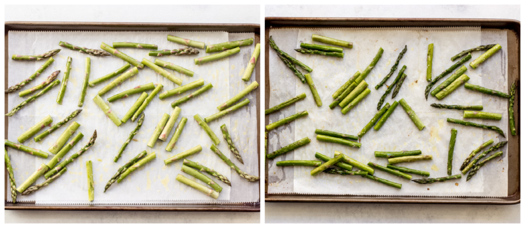roasted asparagus in a pan