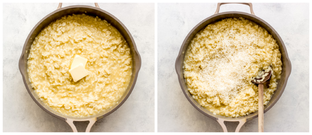 risotto with butter and parmesan in a pan