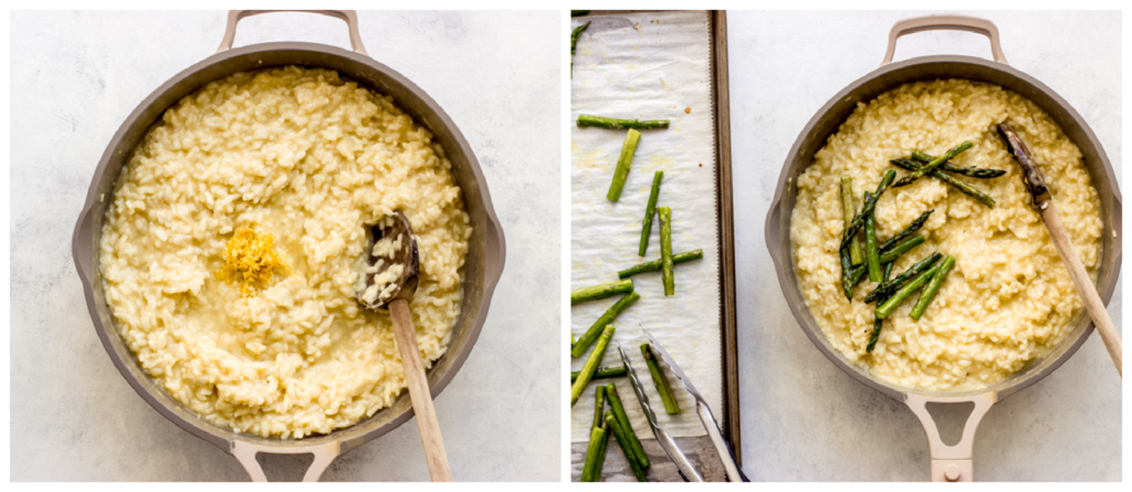 risotto topped with asparagus